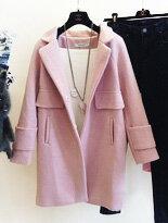 韓國同款寬鬆 休閒口袋長版翻領毛呢外套/長大衣
