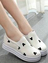 【JC Collection】內增高樂福鞋厚底米奇頭樣白色