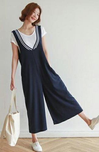 條紋前後V領闊腿連身褲-女裝,內衣,睡衣,女鞋,洋裝