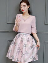 歐根印花兩件套洋裝-女裝,內衣,睡衣,女鞋,洋裝