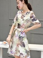 韓系花卉染印修身洋裝-女裝,內衣,睡衣,女鞋,洋裝
