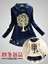 *ORead* 大樹小貓咪加絨加厚翻領長袖2件套T恤(2色M~2XL)