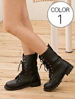 個性中筒機車靴-女裝,內衣,睡衣,女鞋,洋裝