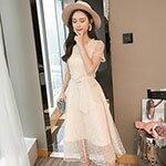 顯瘦網紗短袖洋裝風
