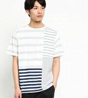 THE SHOP TK 圓領大小不一條紋短袖T恤 男裝