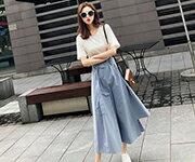 韓系 女裝 原宿假兩件式拼接不規則短袖 連身裙 洋裝 / 樂天時尚館。預購