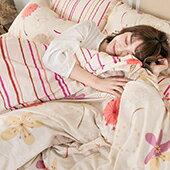 居家生活-床包-純棉床包組【輕盈粉】